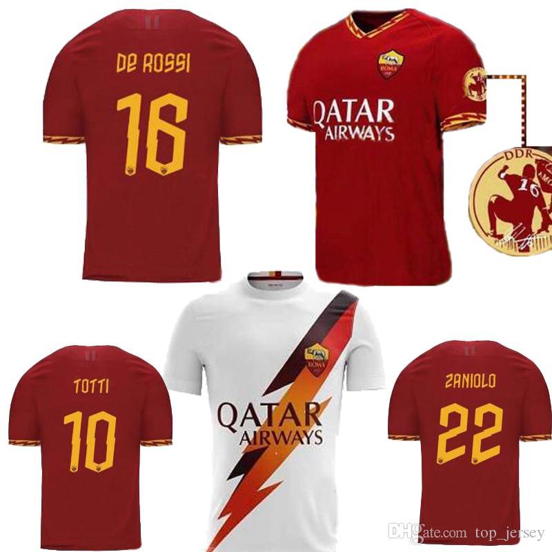 2019 DE ROSSI PASTORE ZANIOLO rome TOTTI Mens jersey football kit shirt uniforms 2020 as maillot de foot roma soccer jersey 19 20 SIZE S-3XL