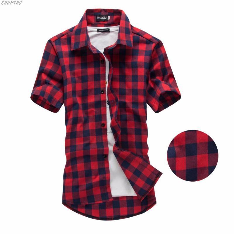 Neue Sommer-Mode-Männer karierte Hemden Kurzarmhemd Männer Bluse Rot und Schwarz-kariertes Hemd Männer Shirts