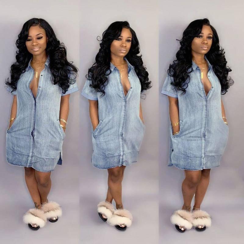 Чистая Женщины рубашка платье Летняя мода с коротким рукавом джинсовой женские платья Джинсы Кардиган Streetwear Женская одежда