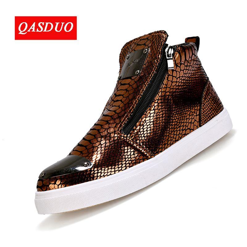QASDUO мужская обувь Европа и Соединенные Штаты тенденции высокая обувь личность мужская обувь пластины боковой молнии