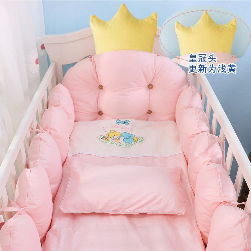 100 %면 침대 침대 리넨 키트, 크라운 디자인 아기 침대 침구 세트, 아기 침구 세트 범퍼를 포함 + 베개 + 이불 + 매트리스 커버