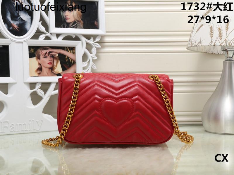 X5AF di vendita donne Tracolle classici dell'unità di elaborazione Leather Style Marmont Heart Gold catena di borsa delle donne della borsa Tote Bags Messenger Borse