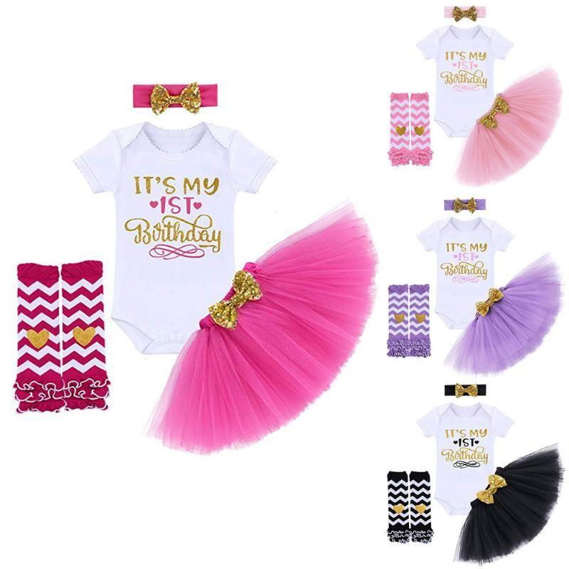 4pcs Toddler Kid Girl 1st Birthday Thanksgiving Outfits Socks+Headband+Top+Skirt