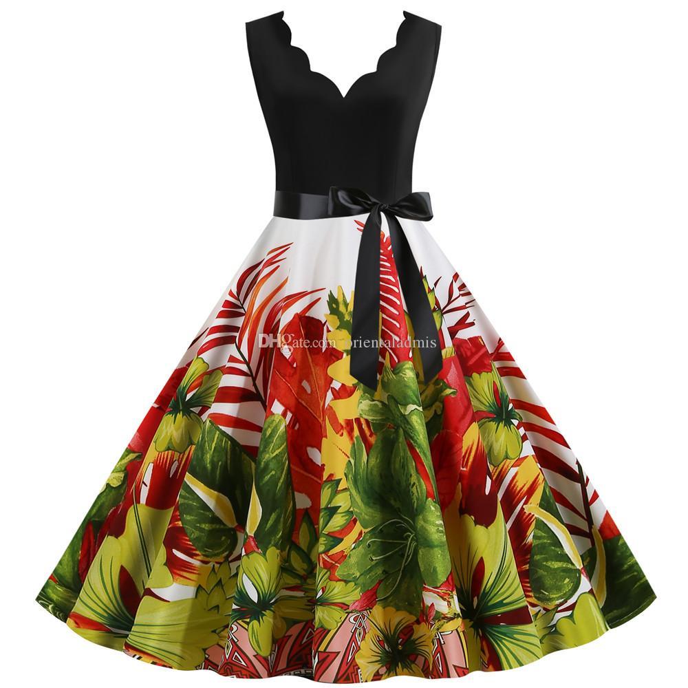 # Jy14701 grossist damer sommar kläder flora digitala utskrift v-nacke ärmlös tillbaka dragkedja kvinnors kausalparti klänningar