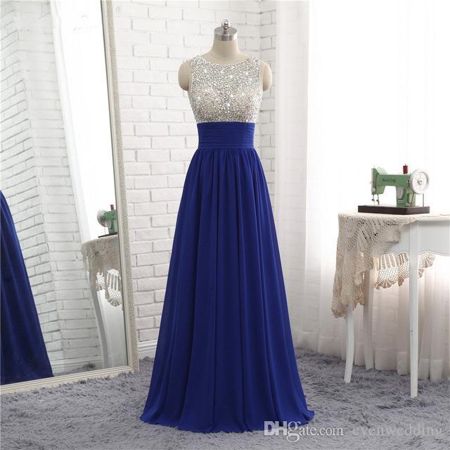 로얄 블루 긴 쉬폰 이브닝 드레스 2020 등을 맞댄 무도회 가운 층 길이 당 복장 가운 de soiree