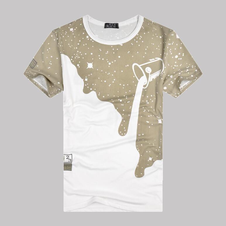 4 Cores Hot Marca T-shirts para Mens T-shirt Com Leite Printed Summer Fashion Designer T Shirt Design 3D Tops Roupa 4 Styles