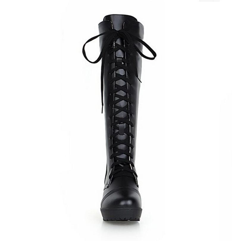 Hot Sale-Большой размер 48 женщин Warm Winter Boots Шнуровка площади пятки сапоги колено высокие Круглый Toe Косплей Тонкий леди Длинные
