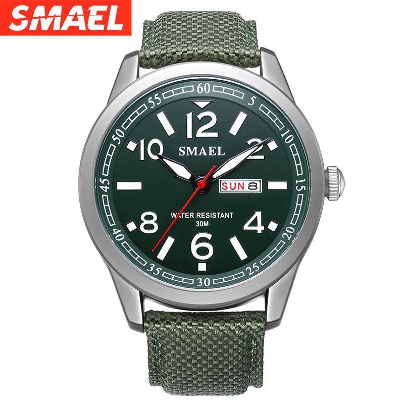 Nuevo reloj de deportes al aire libre para hombre reloj de cuarzo relojes de cuero impermeable del calendario de los hombres multifuncionales