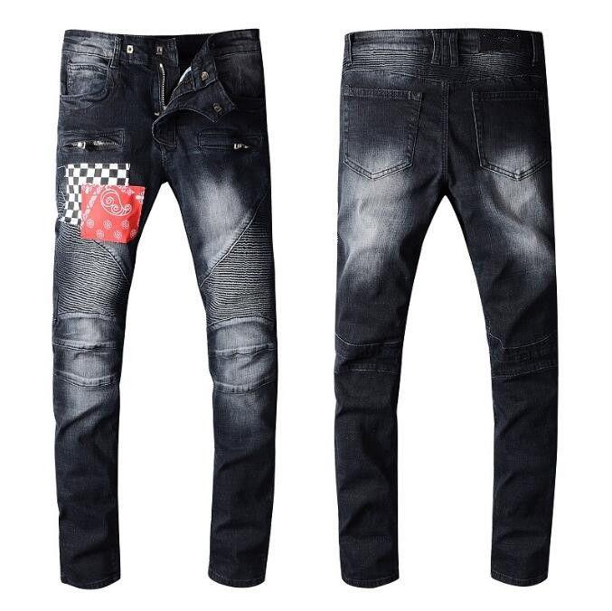 20SS Classic Mens Black Jeans Designer Denim Pants Mens Slim Fit Biker Skinny Jeans Mens Hip Hop Holes Motorcycle Trousers