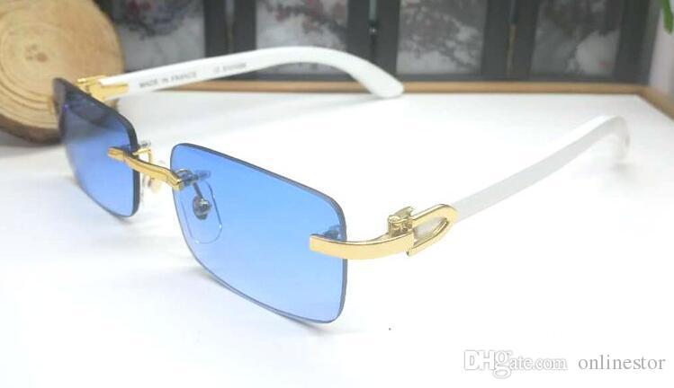 2019 new arrival women mens sunglasses Wooden white buffalo horn glasses frameless eyeglasses gold with box blue pink yellow red