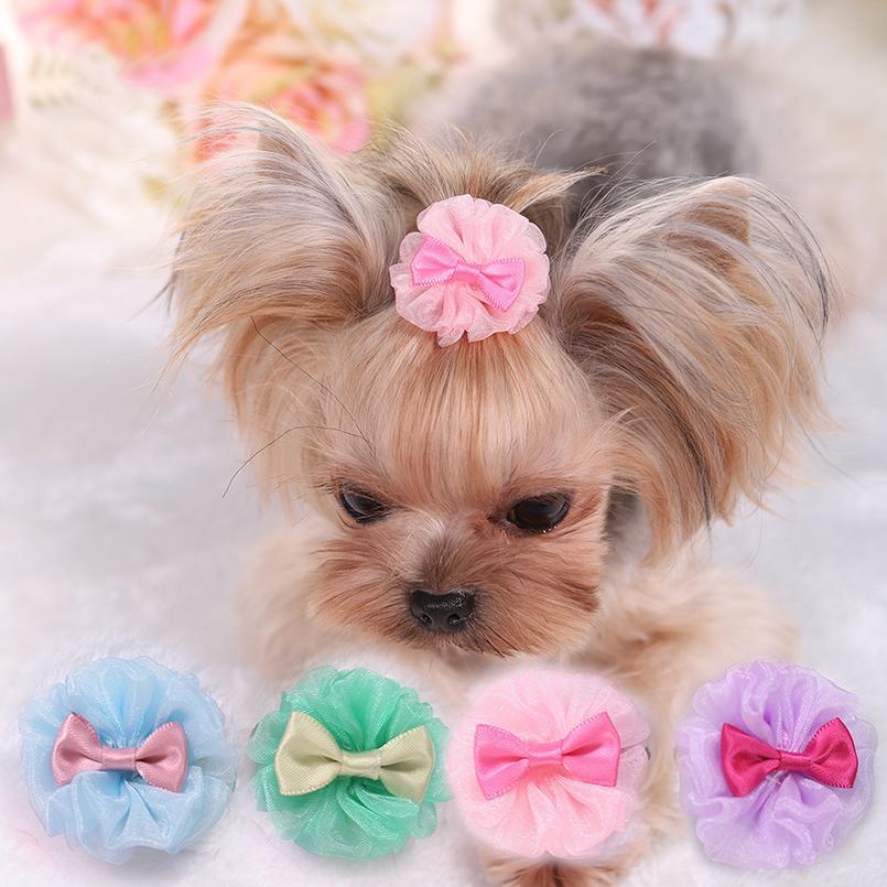 Perro de mascota Visión horquilla de la flor Conjunto de peluche del perro de caniche Clip Cabello conjunto de la horquilla accesorios para mascotas boda del tocado del pelo Accesorios Mascotas Promoción