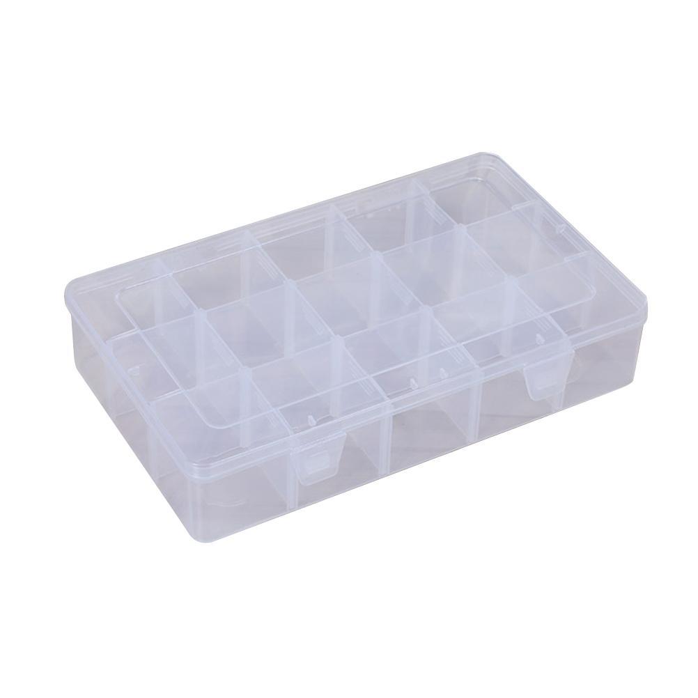 Caja de joyería 15 Rejillas Caja de almacenamiento de plástico transparente ajustable Organizador de plástico Caja de caja de organizador de joyería