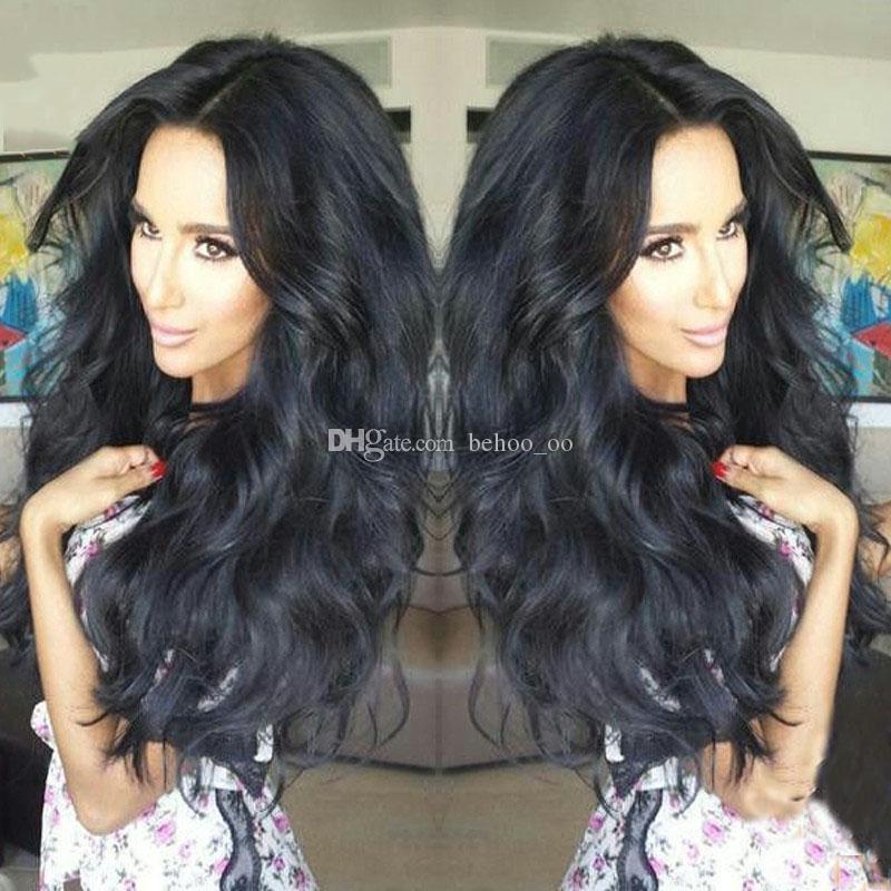 9A 최고의 레이스 프론트 인간의 머리 가발 Glueless 전체 레이스 가발 100 % Brazillian Virgin 인간의 머리카락 물결 모양의 가발 흑인 여성
