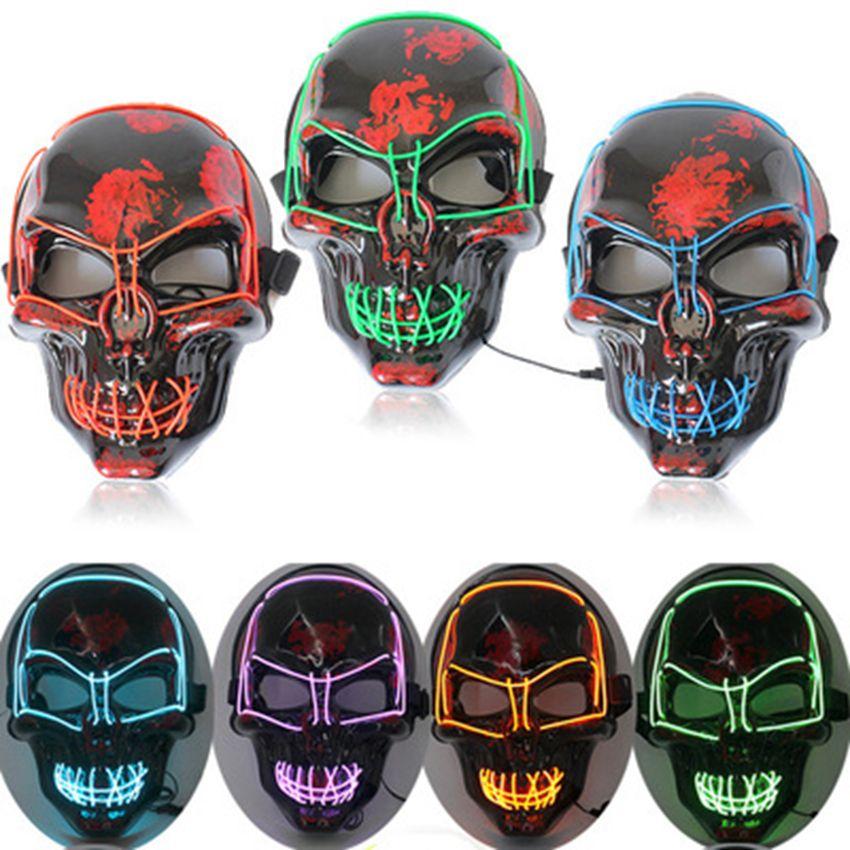 Halloween-Maske LED leuchten Scary Skeleton Schädel-Maske für Festival Cosplay Halloween Kostüm Masquerade Parties Karneval 10 Farben ZZA1182