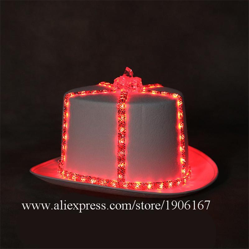 6PCS Art und Weise LED leuchten Party-Hut LED-Leucht-Diskothek Bühnenrequisiten Camping Reisekopfbedeckungen DJ KTV Bar Stage Show