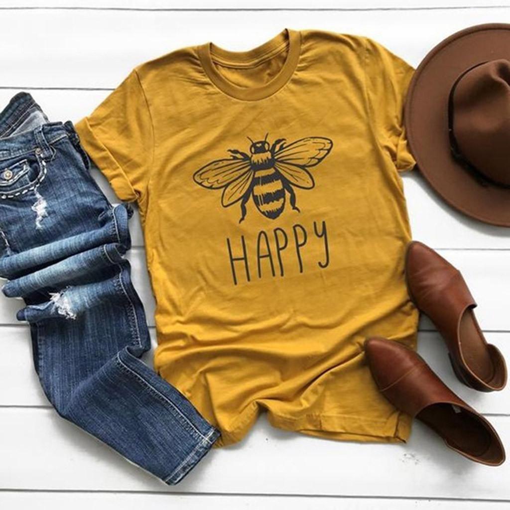 Artı Boyut Kadın Yaz Tee Gömlek Pamuk Yuvarlak Yaka Arı Kısa Kollu Casual Çok renkli Gömlek Tops femme T200610 kombinezonlar tişörtler yazdır
