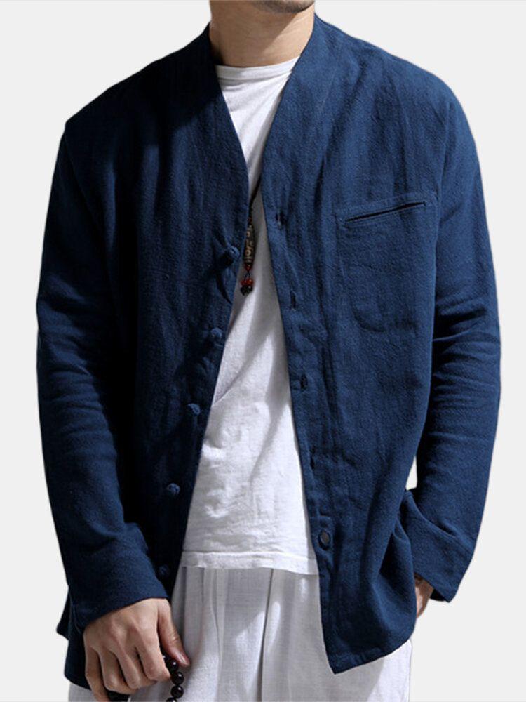 Cuello de camisa informal de manga larga de lino de verano para hombre Ropa de la moda de diseño camisas hermoso color sólido Mandarín