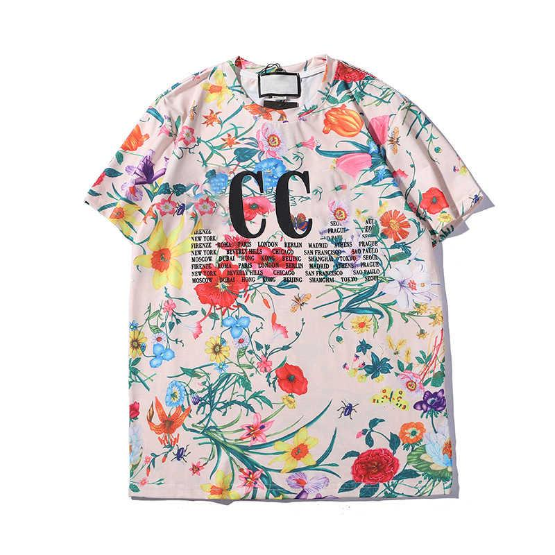 20s Mens T Shirt Flower Summer Casual Новые Одежда Letters Printed с коротким рукавом Pattern Top Красочные Тис азиатский размер S-2XL