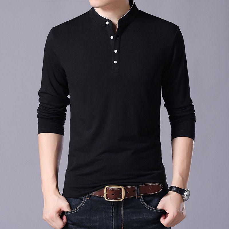 весной и осенью T рубашку мужчины воротник стойка четыре кнопки мужчин 95 хлопок стиль прилив хлопок полный рукав чистый цвет длинный рубашка