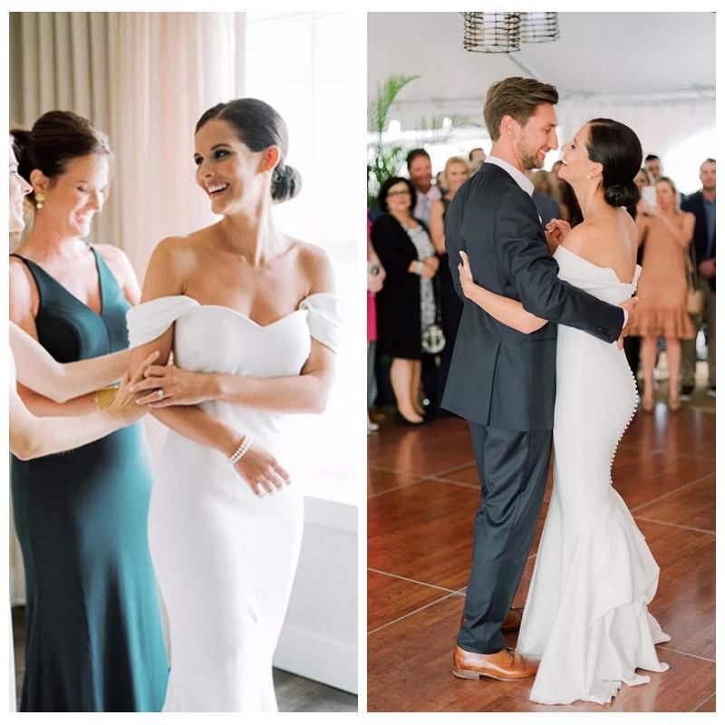 Form-spalla Off Classic White Wedding Gowns Montaggio Abiti da sposa sirena con bottoni ricoperti Corte treno abiti sexy per Matrimonio