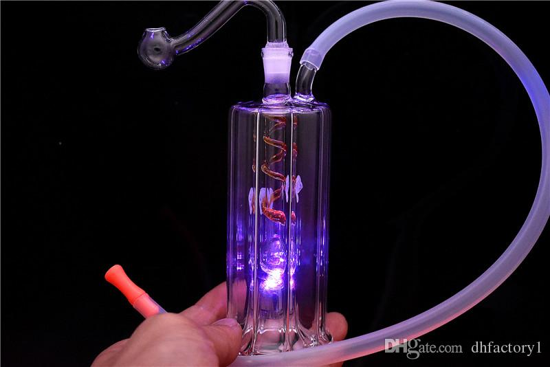 """LED noturna bongs Luz vidro Dab plataforma de petróleo colorida tubulações de água 5"""" portátil Oil Caliane em linha estéreo tubos de queimador de óleo polegadas"""