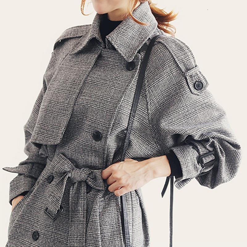 Coupe-vent 2018 Dernières costume-robe manteau à carreaux fin Trench Femme Manteau en vrac Mode Belted Outwear Chèques Pardessus T190917
