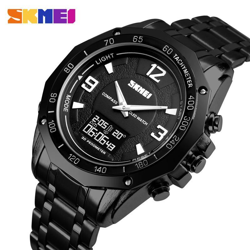 SKMEI 3 Tiempo Hombres Reloj de pulsera para hombre de calorías Brújula Termómetro Cronómetro Relojes Hombre deportivo digital del relogio Masculino 1464