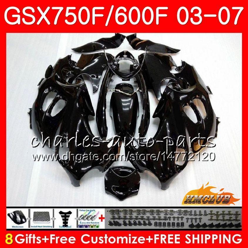 Kropp för Suzuki Glossy Black Katana GSXF750 GSXF600 2003 2004 2005 2006 2007 3HC.49 GSX600F GSX750F GSXF 600 750 03 04 05 06 07 Fairing Kit