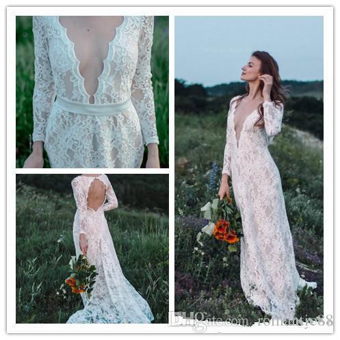 Une ligne dentelle blanche longue plage manches Bohemian robes de mariée robe de mariée Backless 2019 pas cher Boho robe de mariée