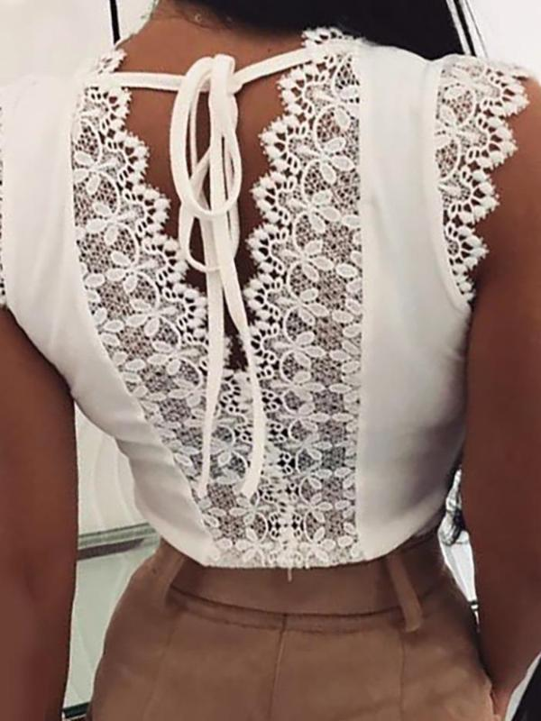 2020 Summer Women Elegant Basic Shirt Female O-neck Sexy Workwear Blouse Women Fashion Sleeveless Lace Stitching Top