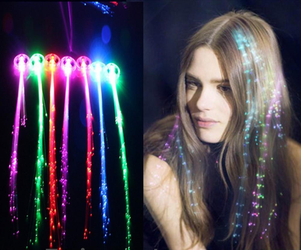 Clip de pelo resplandor parpadeante flash LED trenza partido de la demostración Juguetes cabrito Headwear colorido luminoso trenza de fibra óptica alambre HairpinChristmas 50pc / lot