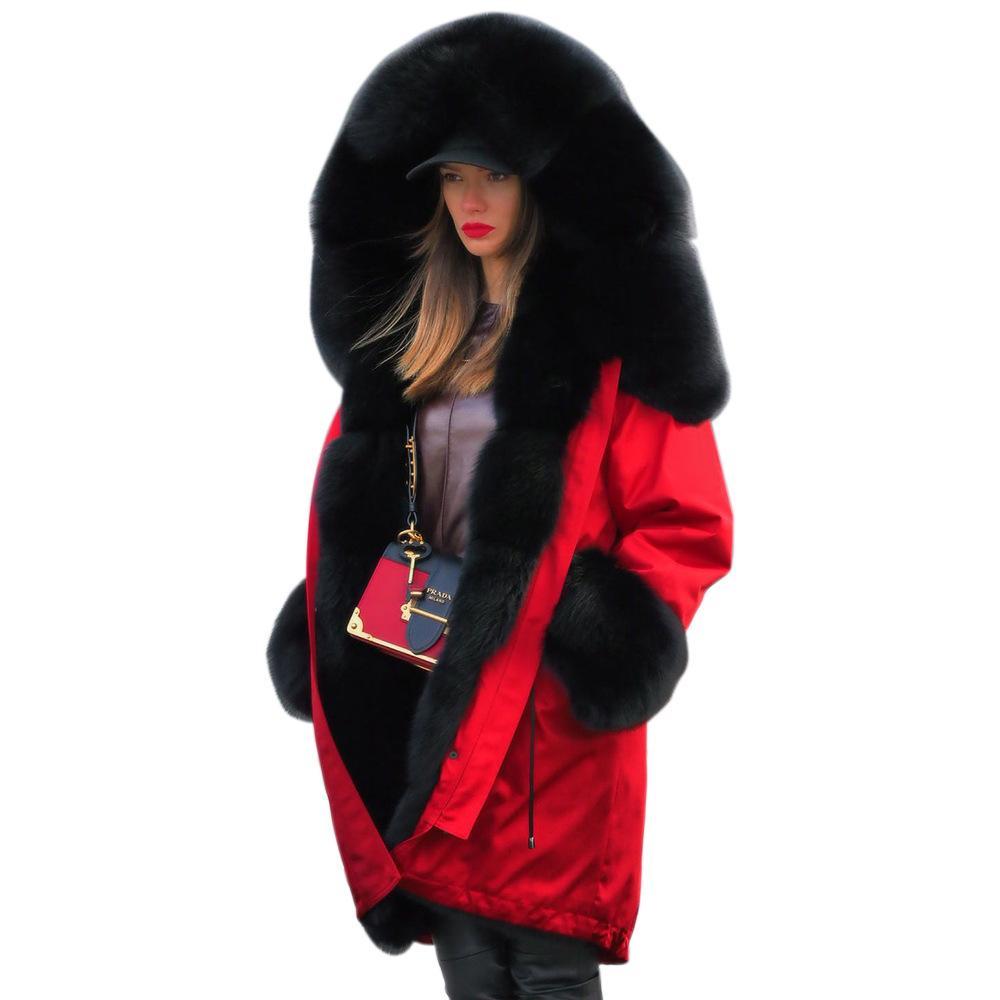 الجملة شخصية سميكة المرأة مصمم الشتاء معاطف فاخر مقنع الياقة الفراء الديكور الأزياء معطف متوسط الطول النسائية معاطف S-XL