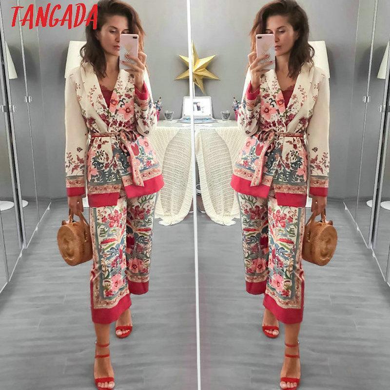 Tangada أزياء المرأة السترة سترة زهرية مصمم الأزياء كوريا 2018 كم طويل السيدات السترة مكتب الإناث معطف بليزر 3H48