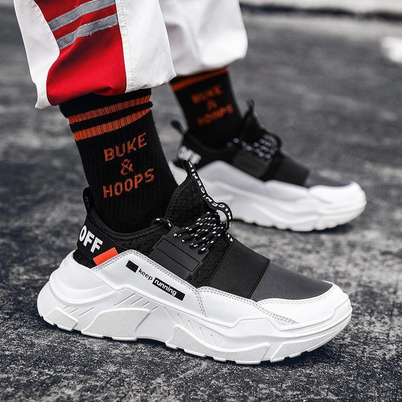2019 Erkekler Spor Ayakkabılar Dantel-up Yüksek Kalite Olmayan Rahat Ayakkabı Mesh Kalın Alt Sneakers Nefes Açık Running Ayakkabı Kayma