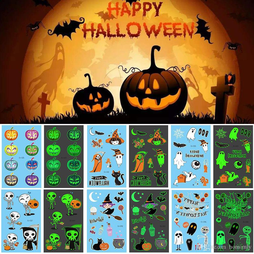 Glow in The Dark Halloween Decoration Luminous Tattoo