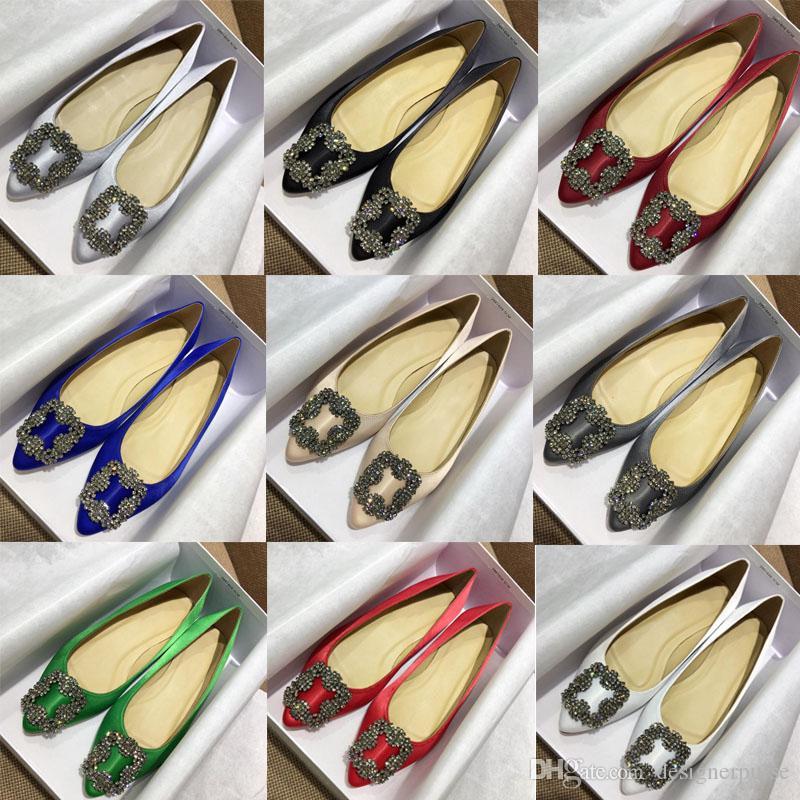 الماس الصنادل المدببة الصنادل mb الساتان كعب مسطح مأدبة الزفاف hangisiflat أحذية نسائية Satin Jewel Buckle Flat Shoes