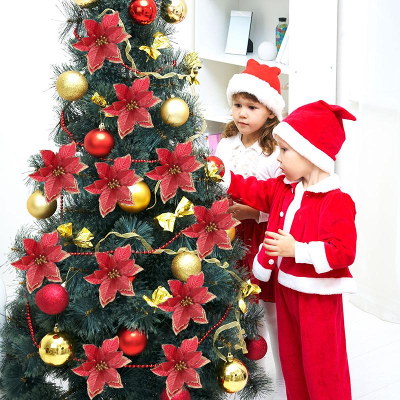 2019 8pcs Artificial Flowers Christmas Tree Ornaments Christmas Decorations for Home Xmas Tree New Year Navidad