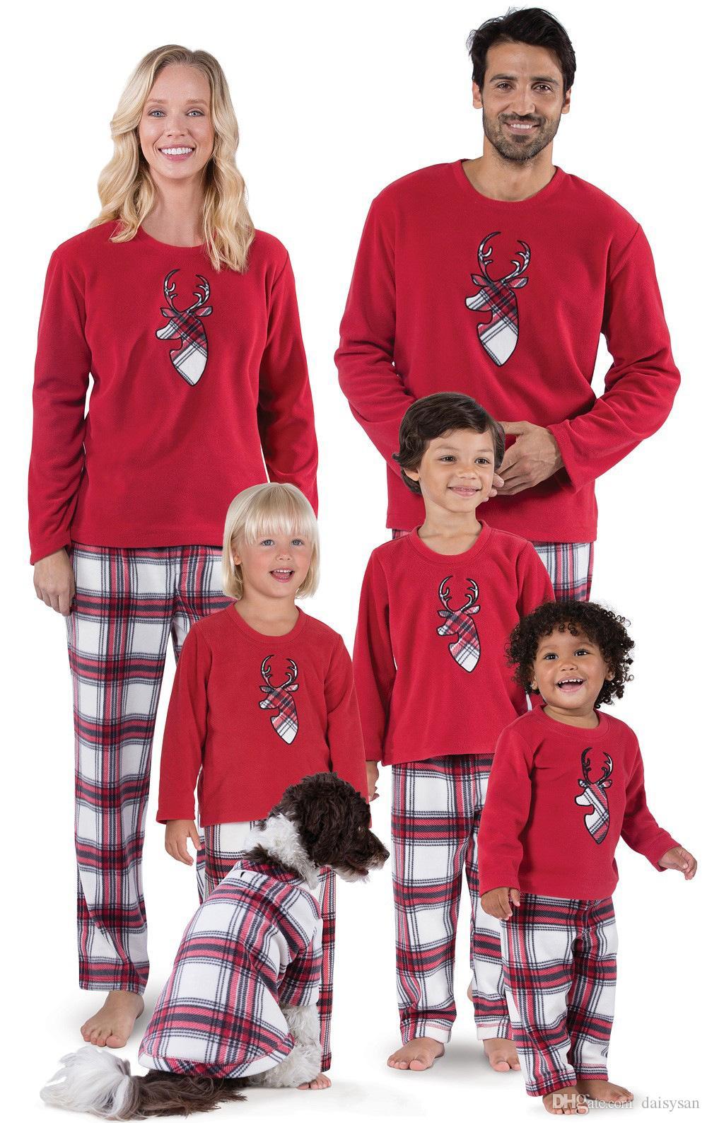 Рождественский пижамный комплект для всей семьи Xmas Sleepwear Parent-Child Nightwear Дед Мороз с принтом топы + брюки в клетку