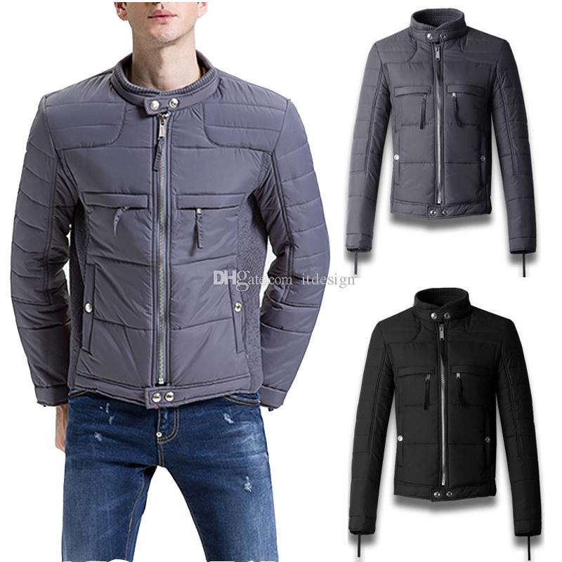 Padded Motocycle Warm Jacket Men's Short Style Slim Fit Hot Sale Quilted Biker Jackets Full Zip Gray/Black