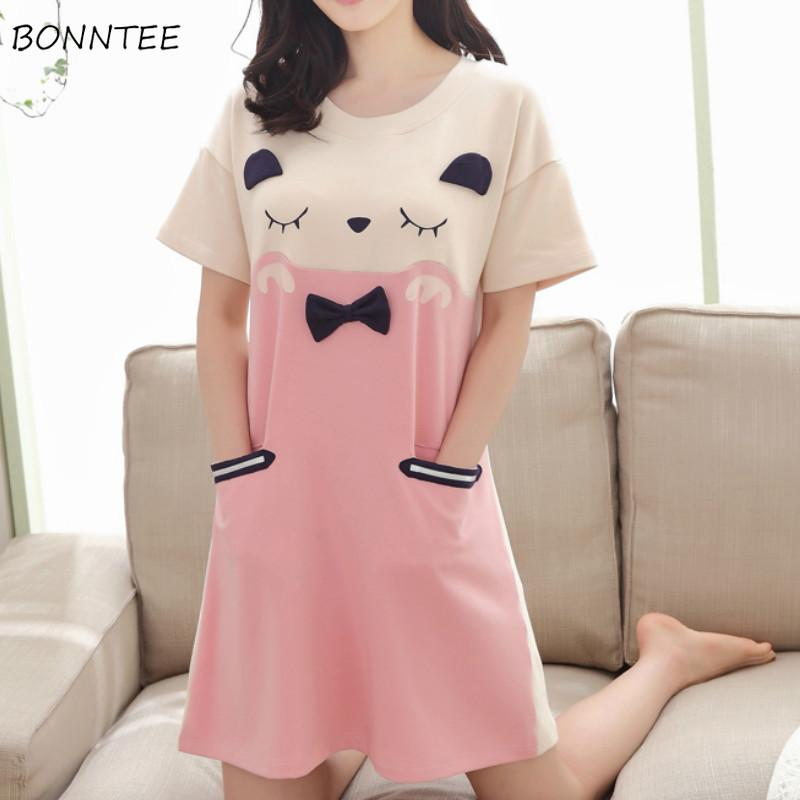 Nightgowns Women Short Sleeve Summer Kawaii Leisure Breathable Printing Cartoon Students Daily Sleepwear Womens Nightdress Cute