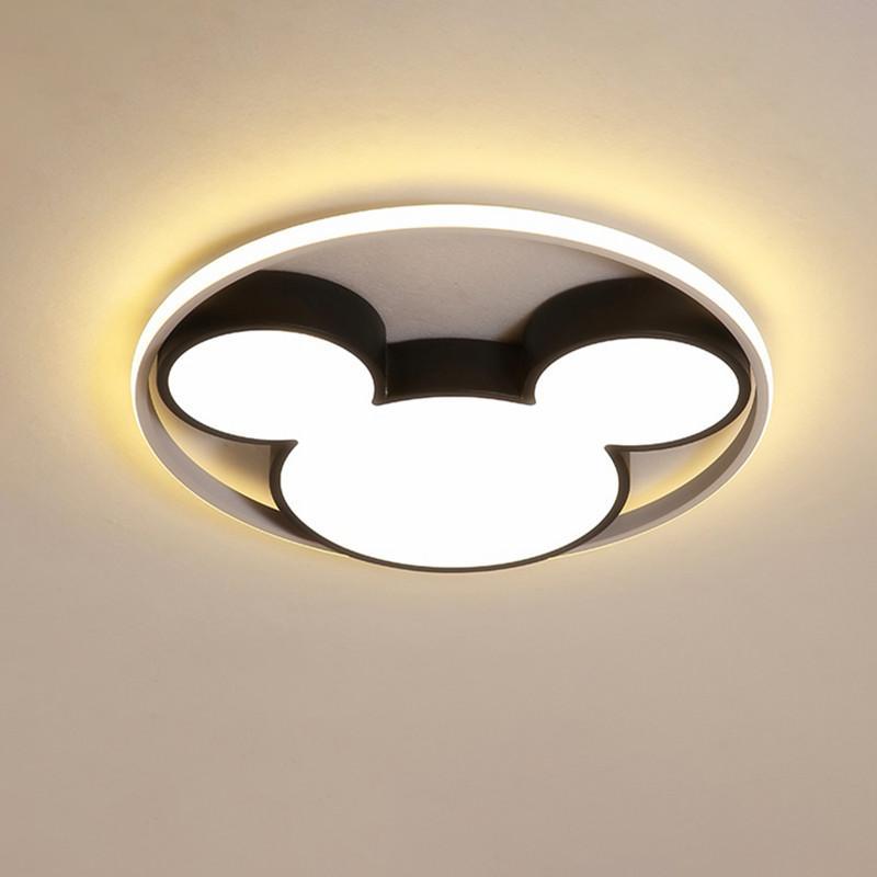 قاد الحديثة ضوء السقف مصباح أسود / أبيض ميكي مصابيح السقف للأطفال الذين يعيشون في غرفة نوم وغرفة 220V عكس الضوء Plafondlamp