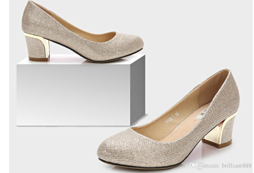 2019 Women's shoes in Spring and Autumn with New style High heel Coarse heel round head sequined cloth@2305