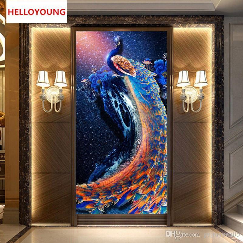 DIY 5D Diamond Embroidery Peacock Round Diamond Painting Cross Stitch Kit Mosaic Painting Home Decor Rhinestone Beadwork