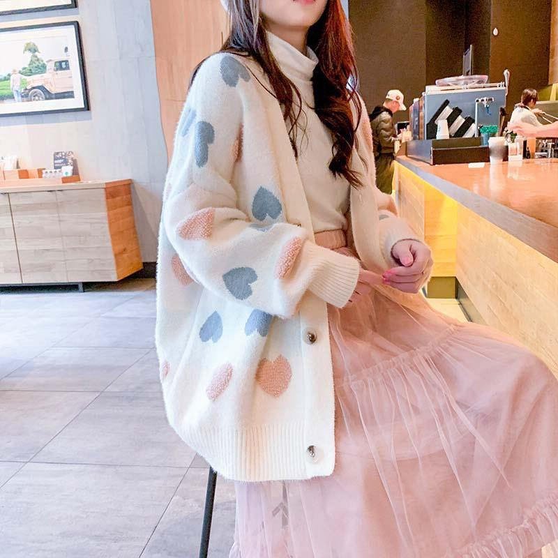 Doce do outono longo solto camisola de malha Pattern amor de mangas compridas Cardigan luva Lantern Plus Size Sweater