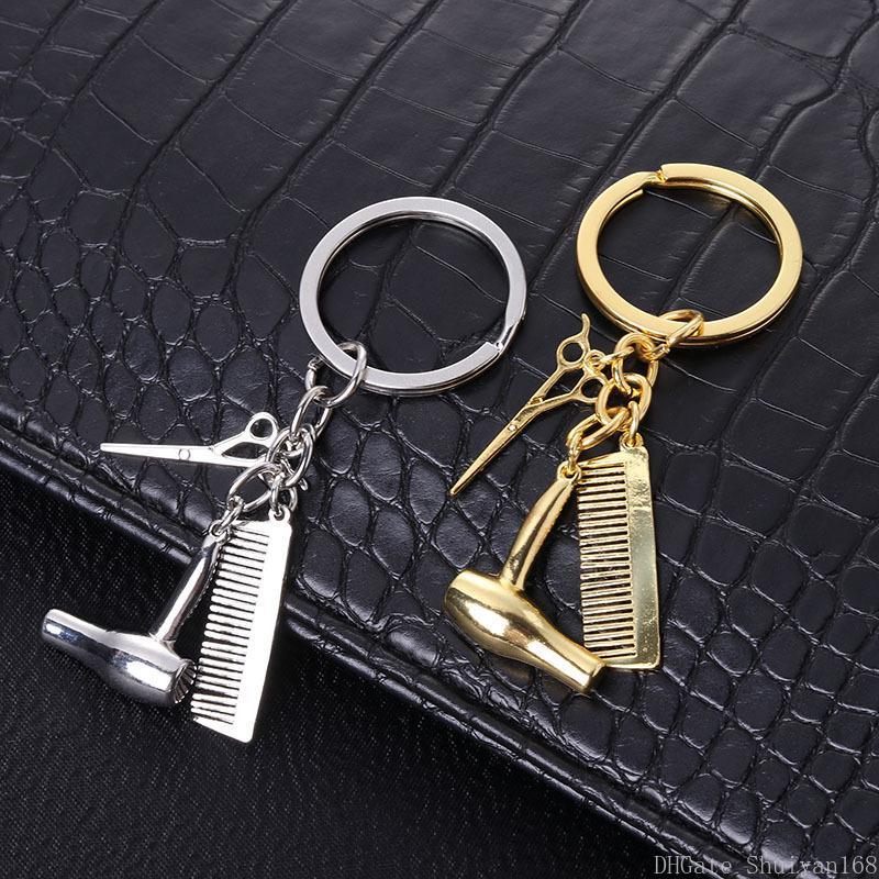 Personalidad pareja llavero secador de pelo peines tijeras colgante llaveros herramientas pelo estilista tijera tecla llavero anillo joyería regalo de Navidad