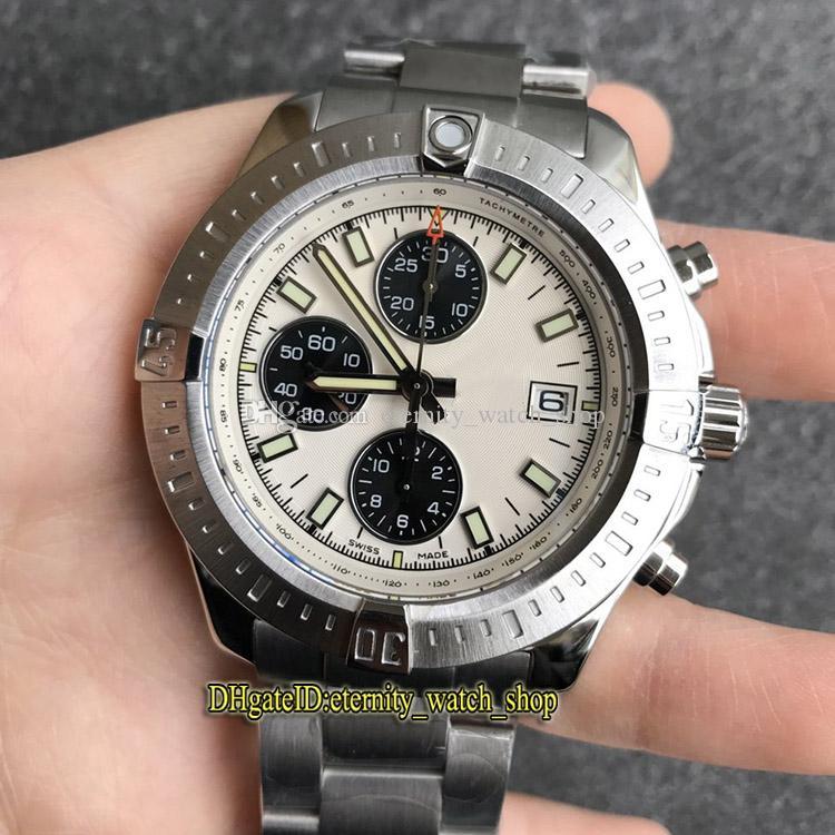 Versão de topo Challenger A13388111C1A1 Cal.13 Chronograph Branco Automático Dial caso de aço do relógio dos homens de uma maneira Relógios catraca moldura Designer