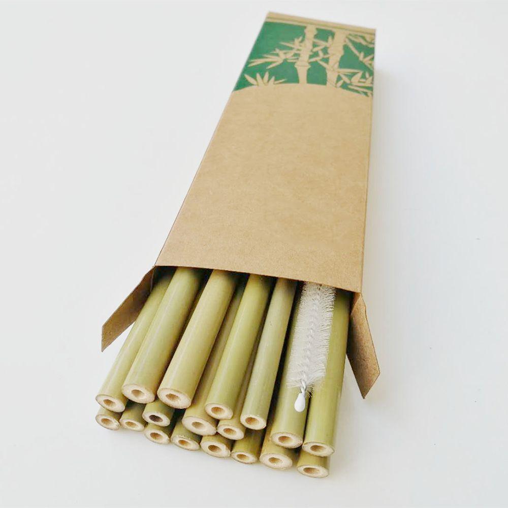 Cannucce di bambù naturale di 19,5 cm Bevande riutilizzabili di legno ecologiche Cannucce con la scatola al minuto della spazzola del pulitore per lo strumento della barra di nozze del partito