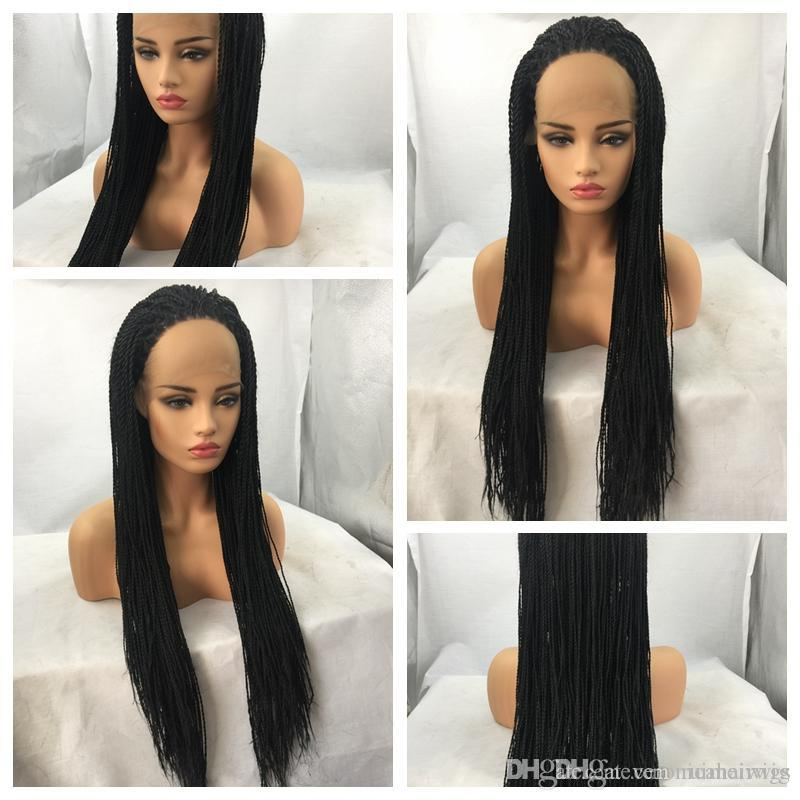 Best Quality 1b# Black Twist Braiding Long Wigs Cheap Box Braided Glueless Synthetic Heat Resistant Lace Front Wigs for Black Women