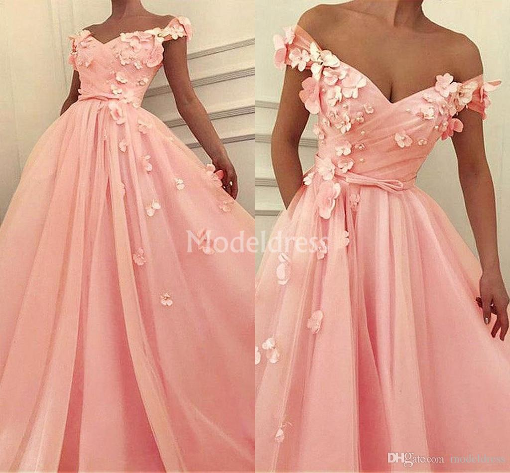 Charming Pink Prom Dresses 2019 Hand Made Flower Off Shoulder Pearls Sweep Train Special Occasion Dress Stylish Cheap Formal Party Prom Gown