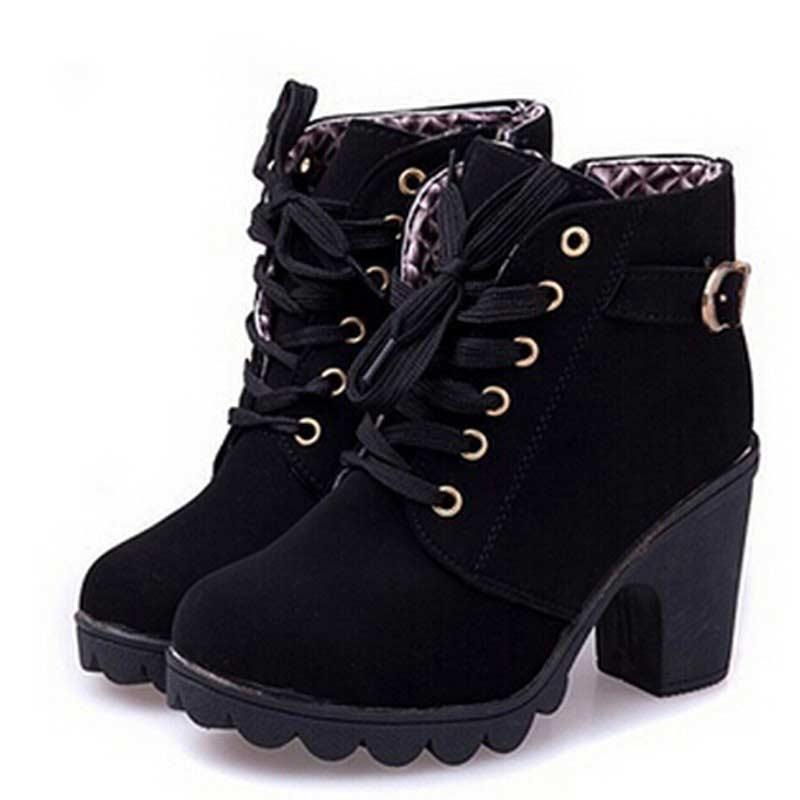 ankle boots para as mulheres 2019 novas botas de salto alto elegante praça sapatos de salto mulher sólida do vintage mulheres rendas-up calçados femininos